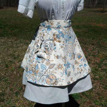 Vintage Inspired Half Apron with Ruffled Pocket - Handmade by The Hippie Patch