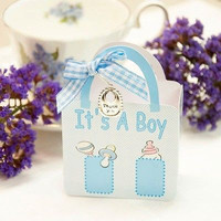 20 It's a BoyBlue Diaper Bag Boxes with Thank You Charm & Ribbon Baby Shower