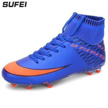 sufei Men Football Boots High Ankle Superfly Soccer Shoes Kids Outdoor Anti-slip Athletic Soccer Cleats