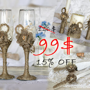 Rustic Wedding set of burlap flowers, lace and rope\ Wedding glasses\ Unity candles\ Set for cake