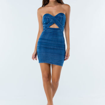 Band Together Denim Strapless Dress