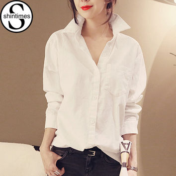 chemise femme womens tops fashion 2016 winter white blouse long sleeve shirt women blouses office shirts blusas y camisas mujer