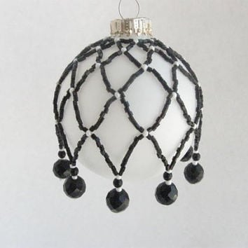 Christmas In July Sale Vintage Upcycled Beaded Christmas Ornament Cover Hand made Black and White