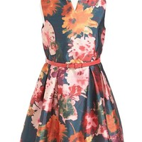 Girl's Pippa & Julie Floral Print Belted Shantung Dress