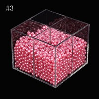 Crystal Acrylic Makeup Brushes Holder Storage Make up Organizer DIY Cosmetics Brush dust-proof Box 6mmFaux Pearl Display Case