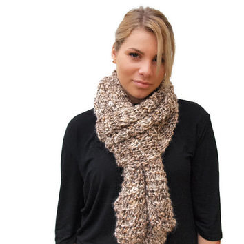 Knit Women Scarf, Knit scarf in Camel Brown Shades, winter scarf, Long knit scarf, Fall Color Scarf