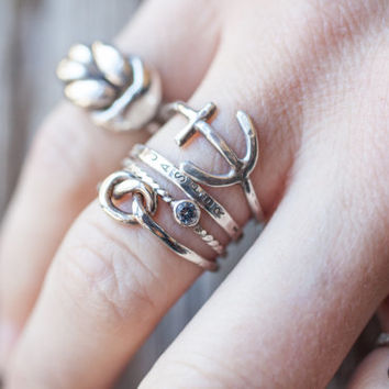 Nautical Stackers, sterling silver artisan handmade stacking rings anchor rope knot twisted rope gemstone personalized stamped name band