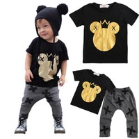 Kids Clothes Toddler Baby Boys Mickey Warm Tops T-shirt+Legging Pant Outfits Set