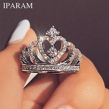 IPARAM Fashion Luxury Silver Zirconia Crown Ring Women's Wedding Party AAA Zircon Crystal Ring 2019 Romantic Jewelry