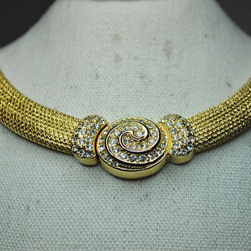 CHRISTIAN DIOR Vintage Wide Gold Mesh Pave Rhinestone Swirl Focal Front Snap Choker Necklace, Superb! #A602