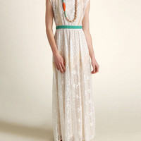 Champagne & Strawberry Ivory Lace Maxi Dress