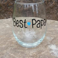 Best Papa hand painted stemless wine glass