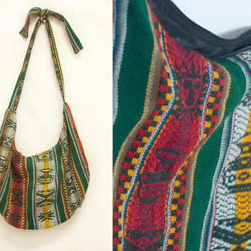 Large Green Red Aztec Mexican Boho Bag | Vintage Tapestry Native American Ethnic Hippie Crossbody Handbag Kilim Carpet Alpaca Mexico Bag