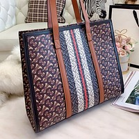 Burberry patchwork printed letter large-capacity tote bag