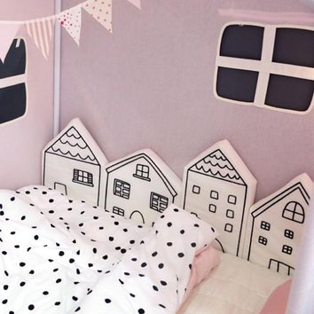 Nordic Combination Cotton Crib Pillow House Huts Baby Bed Bumper Soft Cushion For Kids Game Tent Pads Children Room Decor
