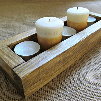 Handmade 10 Inch Small Centerpiece Box - Short Wood Box - Tea Light Wooden Candle Holder - Rustic Windowsill Box, Little Mantel Box