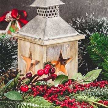 "LED Lighted Christmas Candle Lantern with Berries and Greenery Canvas Wall Art 15.75"" x 11.75"""