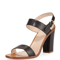 Leather Slingback Sandal, Black