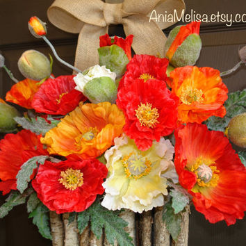 summer wreath welcome wreath poppy wreaths for front door wreaths rustic birch bark vase wreath summer wreaths home living decor housewares