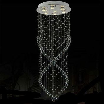 D50*H150cm Modern Circle Ceiling Base Art Deco stair lighting restaurant Hotel lights stairs chandelier Crystal Hanging lustres