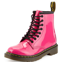 Delaney Patent Leather Military Boot, Hot Pink, Youth - Dr. Martens