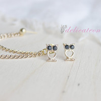 Tiny Gold Owl Chain Cartilage Earring/ Cartilage Piercing