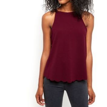 Burgundy High Neck Scallop Hem Cami