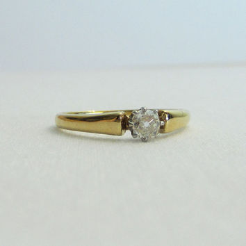 Antique Cushion Cut Diamond. Old Mine Cut Diamond in Yellow Gold, Late Victorian.