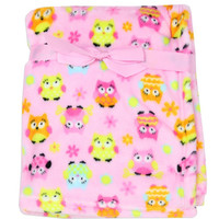 Little Beginnings Baby Flannel Fleece Printed Blanket Owl
