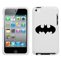 APPLE IPOD TOUCH ITOUCH 4 4TH BLACK BATMAN SYMBOL ON A WHITE HARD CASE COVER