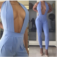 Blue Plunged Neck Backless Jumpsuit