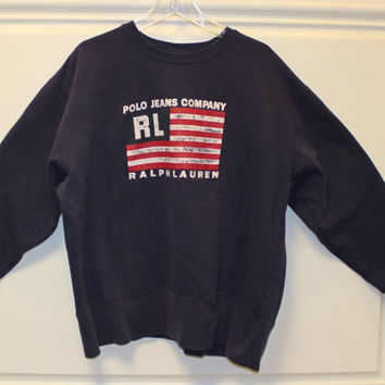 Ralph Lauren // Polo Jeans Co // Sweatshirt // Flag // Pullover // Crew Neck // Vintage //  Blue // XL // Patriotic // July 4th