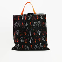 Reusable Fabric Trick or Treat Bag-- Dancing Skeletons Print Black Lining and Orange Satin Ribbon Handles 10 Inch by 10 Inch