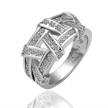 White Gold Plated Abstract Tied Jewels Covering Ring