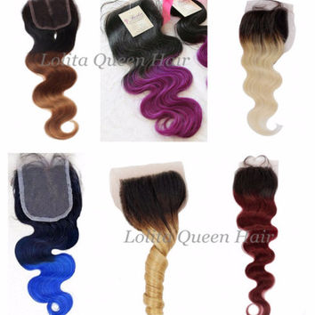 Top Lace Closure ,Ombre Color,100% Human Hair, Customed Made, Free Part,Middle Part,4x4 Closure ,Bleached Knots hair closure,Spring Curl