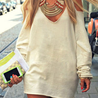 Hot Sale Sexy V-neck Strapless Pullover Hoodies [4966115652]