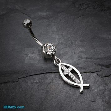 Agape Cross Belly Button Ring