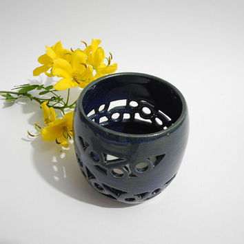 Table Lantern - Tea Candle holder,- Hand Carved Blue Pottery
