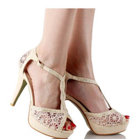 Our Beige Open Toe Crochet High Heel Elegant Lace Design Platform Sandals