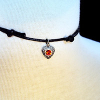 Valentines Day Heart Choker Necklace ~ Red Heart Necklace ~ Gothic Heart ~ Black Choker ~ 90s Style ~ Grunge Jewelry ~ Heart Charm