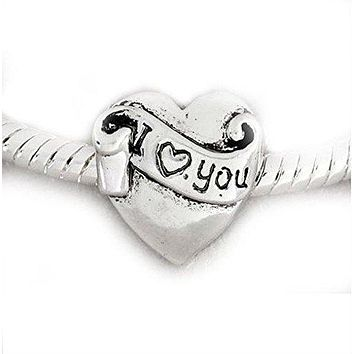 I Love You Ribbon Heart Charm Bead Pandora