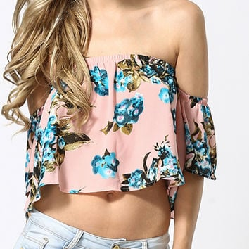 Blue Floral Print Crop Top