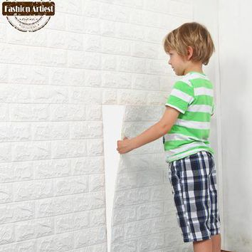 DIY self adhensive wallpaper 3D Brick Wall Stickers sofa kids children bedroom living room kitchen washroom cafe bar restaurant