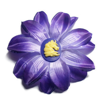 Purple Summer flower with Unicorn hair clip