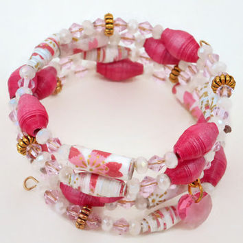 Paper Bead Bracelet, Pink, White & Gold Chiyogami Paper Bead Memory Wire Bracelet, Raspberry Mettallic Paper and Pink Crystal Heart Charm