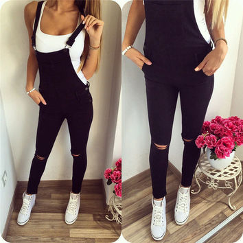 women autumn fall casual fashion pocket long denim overall black jean Jumpsuit Romper backless open back hollow out bodysuit 911