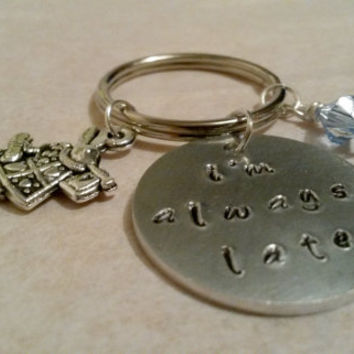 Alice in Wonderland keyring/keychain handstamped