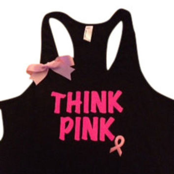 Think Pink Breast Cancer Awareness Black Racerback Tank Top