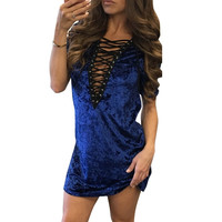 Velvet Dress V-Neck Hollow Out Sexy Womens Bodycon Bandage Club Blue Party Winter Dresses Women