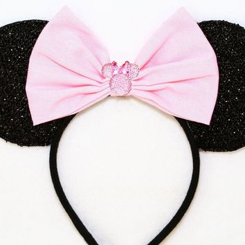 Black Sparkly Minnie Ears with Baby Pink Bow